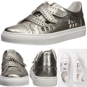 RACHEL Zoe Jaden leather silver Velcro sneakers  7